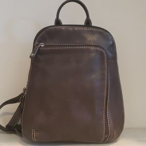ST JOHN'S BAY BROWN LEATHER BACKPACK PURSE